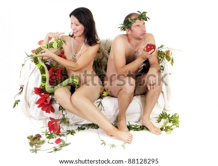 kitsch adam and eve  couple  having relationship problem - stock photo