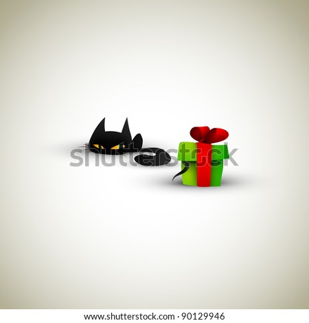 Kitten Excited About Present   Great Greeting for Pet Owners - stock photo