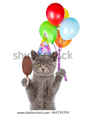 Kitten in birthday hat with bunch of balloons and ice cream. isolated on white background