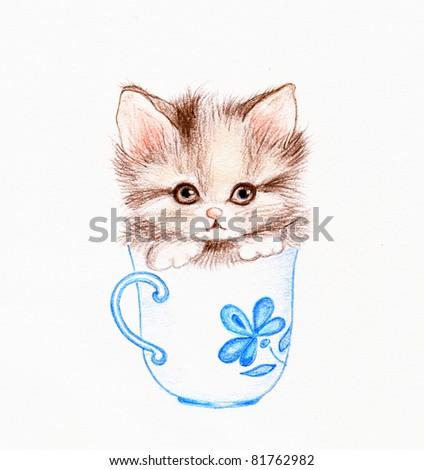 Kitten in the cap - stock photo