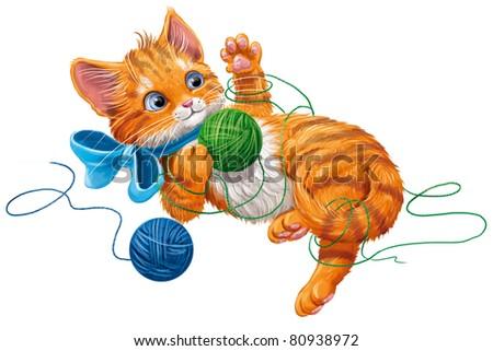 kitten play with ball of yarn - stock photo
