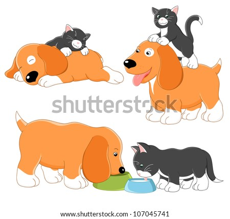 Kitty and puppy. Rasterized version of vector illustration - stock photo