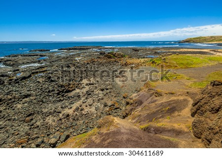 Kitty Miller Bay at low tide in Phillip Island, Victoria, Australia. - stock photo