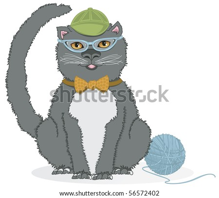 Kitty with CatEye Glasses - RASTER Version - stock photo
