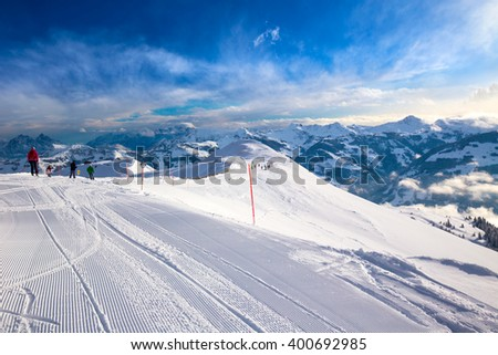 KITZBUEHEL, AUSTRIA - February 17, 2016 - Skiers skiing in Steinbergkogel - Kitzbuehel ski resort with 54 cable cars, 170 km prepared skiing slopes and place of famous hahnenkamm races