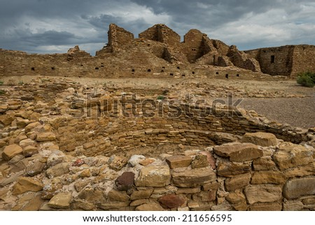 Kiva at Pueblo del Arroyo at the Chaco Culture National Historical Park in New Mexico - stock photo