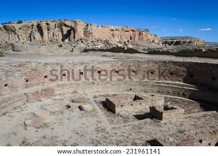 Kiva in Chaco Canyon National Historic Park in New Mexico - stock photo