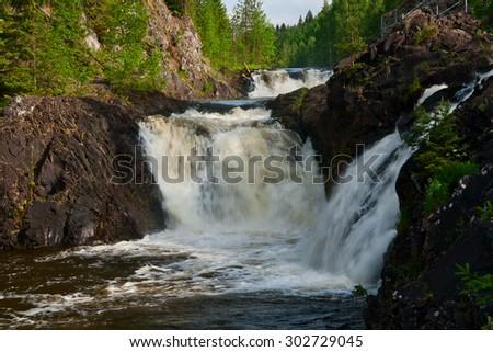 Kivach waterfall on the river Suna, Karelia, Russia - stock photo