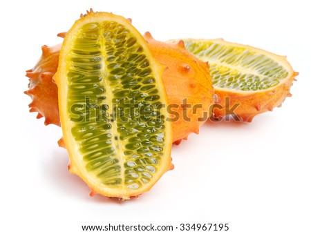 Kiwano, fruit. Horned melon on the table - stock photo