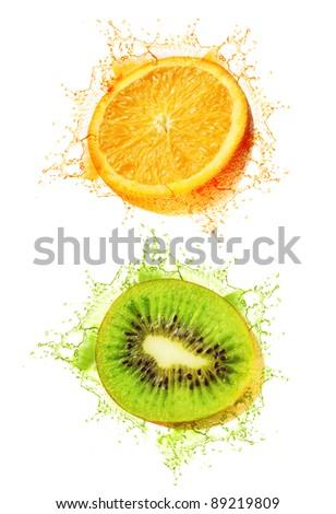 Kiwi and orange wet isolated on a white - stock photo