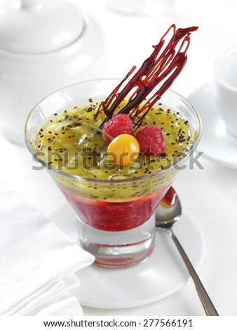Kiwi and raspberry dessert - stock photo
