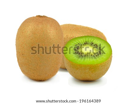 kiwi and slice of kiwi on a white background - stock photo