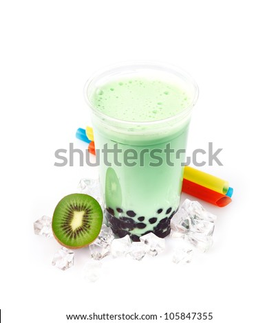 Kiwi Boba Bubble Tea with fruits and crushed ice. - stock photo