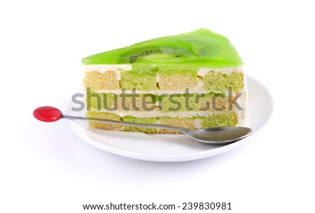 Kiwi cake on white background