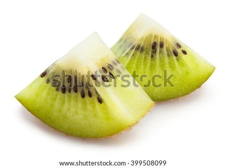 kiwi chunks isolated - stock photo