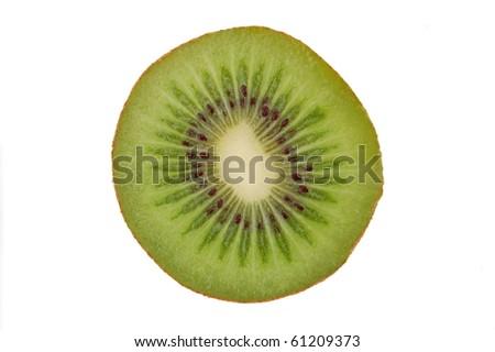 Kiwi cut in half on white background - stock photo