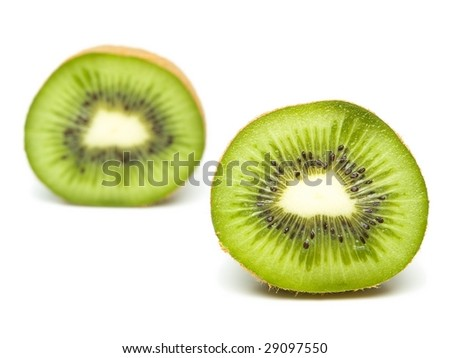 kiwi cut in half, one in front and one in back. Isolated on white.