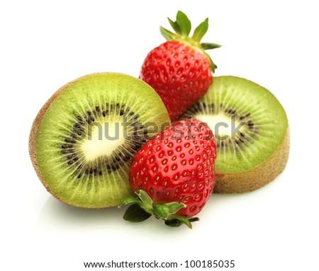 Kiwi Fruit and Strawberries on White - stock photo