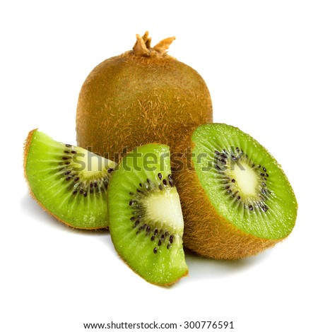 Kiwi fruit chopped isolated on white background