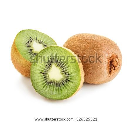 Kiwi fruit close-up isolated on a white background  - stock photo
