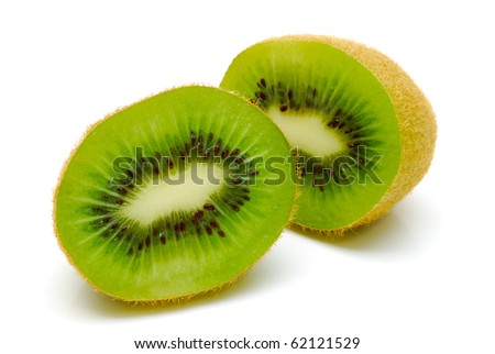 kiwi fruit halves on a white background - stock photo