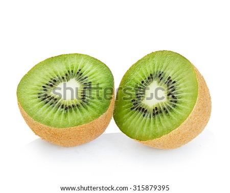 Kiwi fruit isolated on a white background. - stock photo