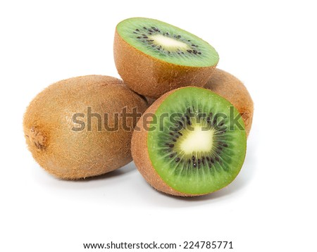 Kiwi fruit isolated on white background, - stock photo