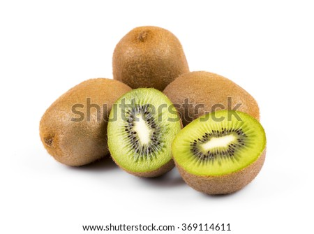 kiwi fruit isolated on white background - stock photo