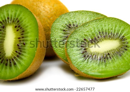 kiwi fruit on a white background. Isolation on white. Macro