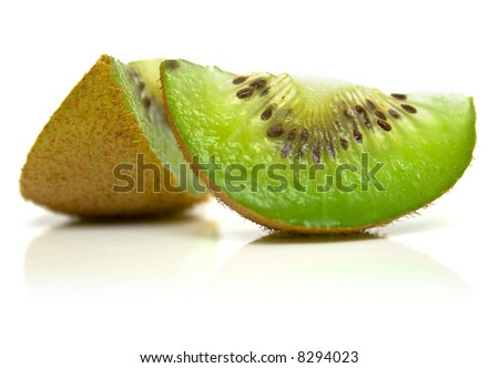 kiwi fruit on a white background. Isolation, shallow DOF.