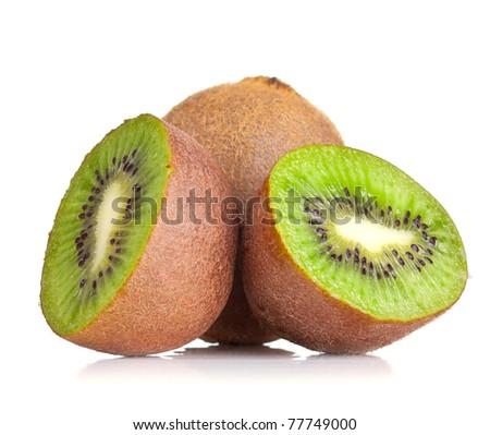 Kiwi fruit ripe isolated on a white. - stock photo