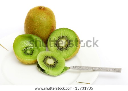 Kiwi fruit sliced into half and digged out the flesh using small spoon.