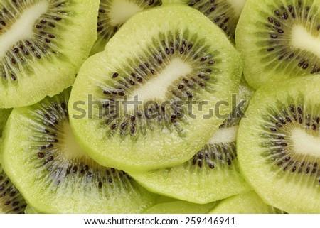 kiwi fruit slices background - stock photo