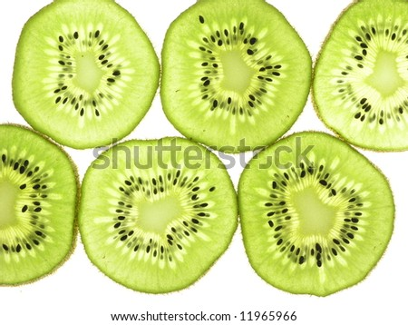Kiwi Fruit slices Backlit - stock photo