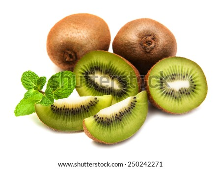 Kiwi fruit with mint on a  white  background - stock photo