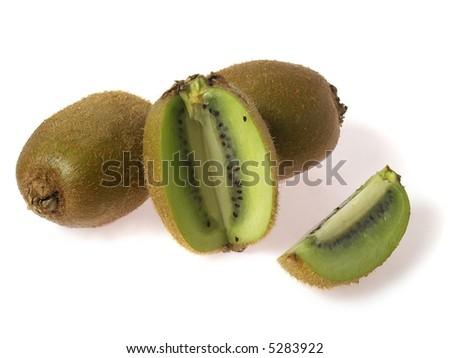 kiwi fruits and pieces, isolated on white - stock photo