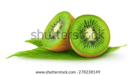 Kiwi fruits cut in halves with leaves isolated on white background - stock photo