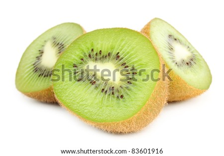 Kiwi Halves Isolated on White Background
