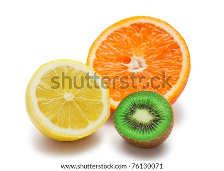 Kiwi lemon and orange isolated on white - stock photo