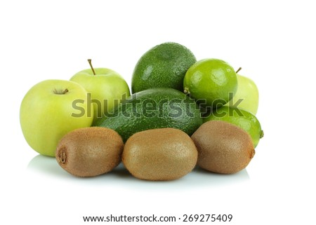 kiwi, lime, apple and avocado  - stock photo
