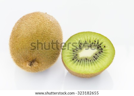 kiwi over white background - stock photo