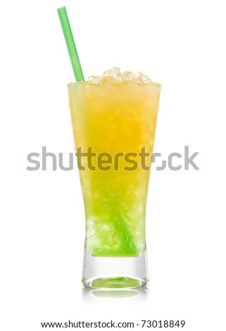 Kiwi Pina colada drink  cocktail glass isolated on white background - stock photo