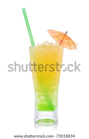 Kiwi Pina colada drink  cocktail with umbrella glass isolated on white background - stock photo