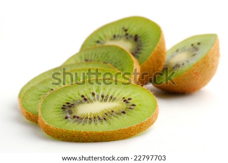 Kiwi sliced and studio isolated on white background
