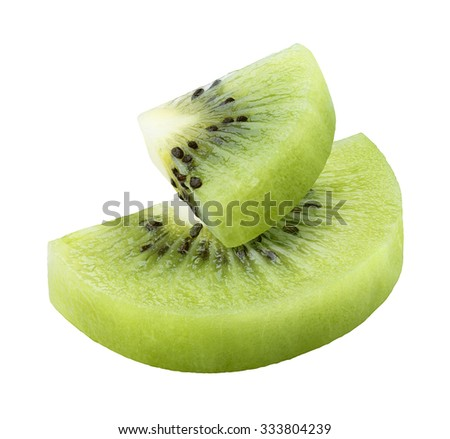 Kiwi slices half quarter isolated as package design element - stock photo