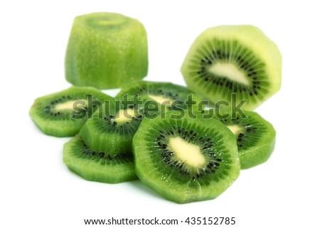 Kiwi slices (kiwifruit). Isolated on white background. - stock photo