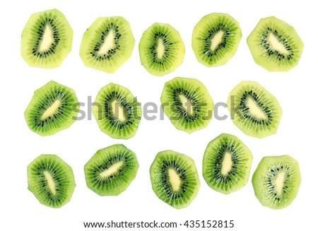 Kiwi slices (kiwifruit). Isolated on white background. Directly Above. - stock photo