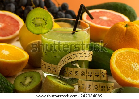 kiwi smoothie and variuous fresh fruit,fitness concept - stock photo