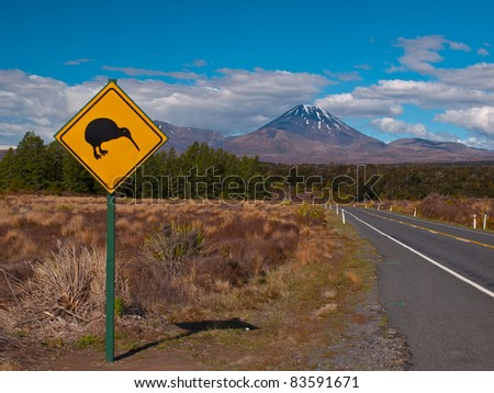 Kiwi warning sign with volcano in the  rear - stock photo