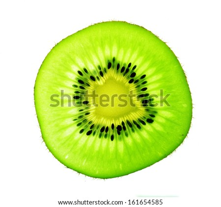 Kiwifruit slice isolated on a white background.